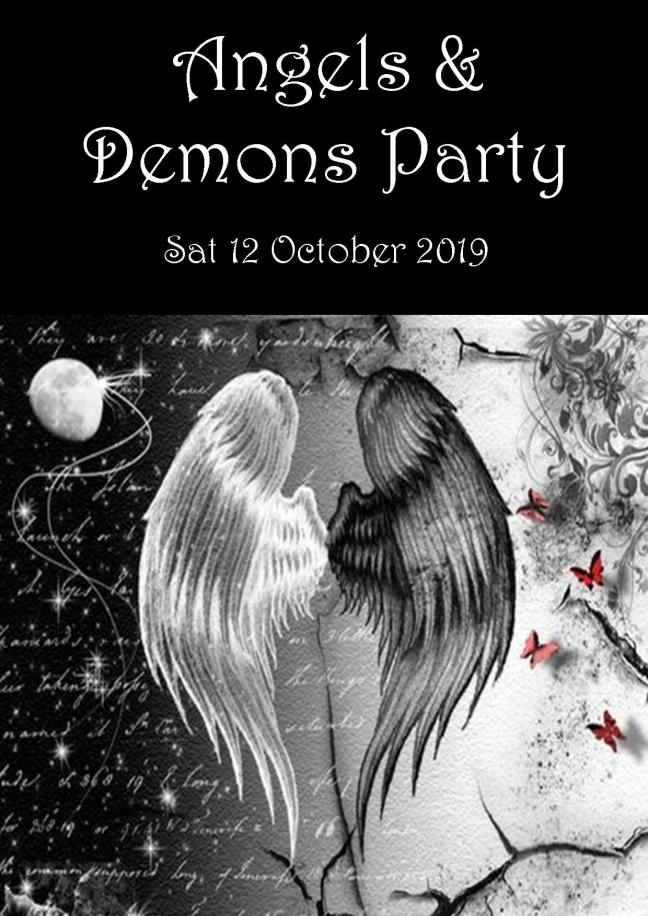 ANGELS & DEMONS PARTY POSTER SAT 12 OCT 2.00PM