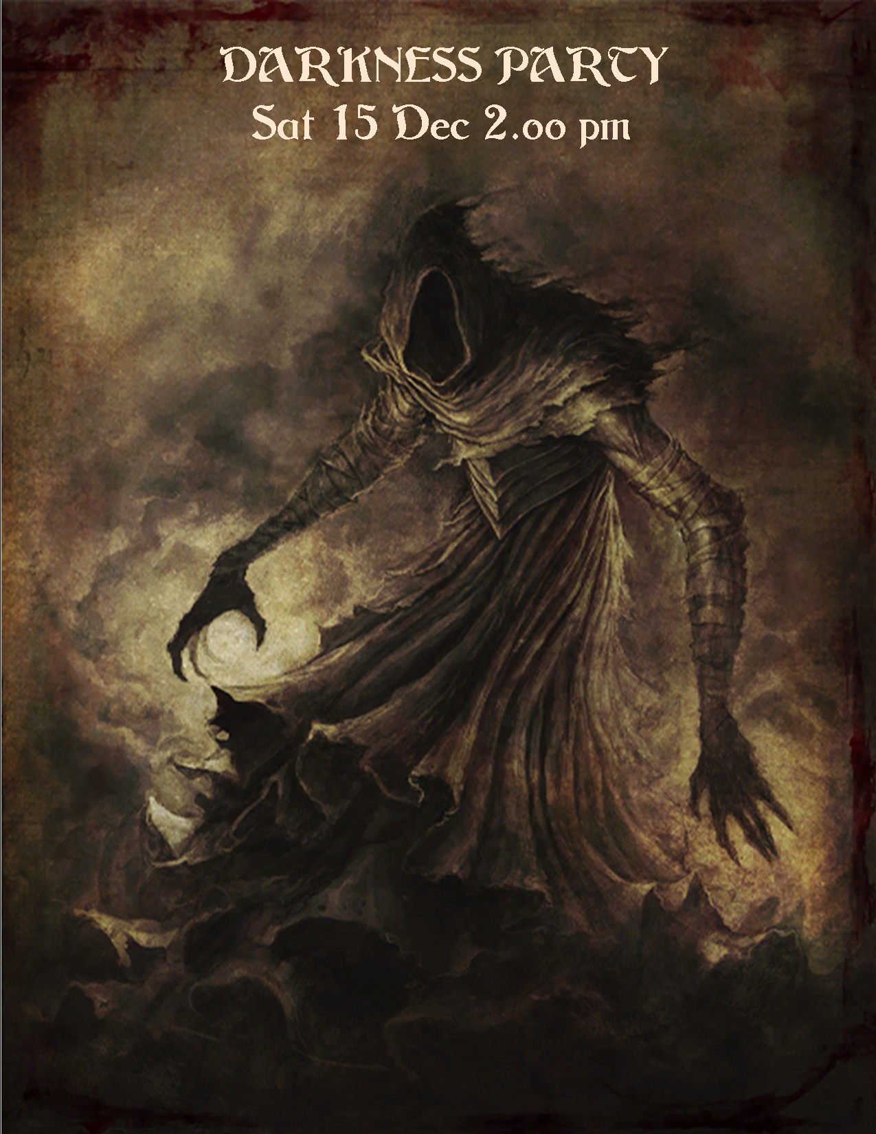 DARKNESS PARTY POSTER SAT 15 DEC 2.00PM