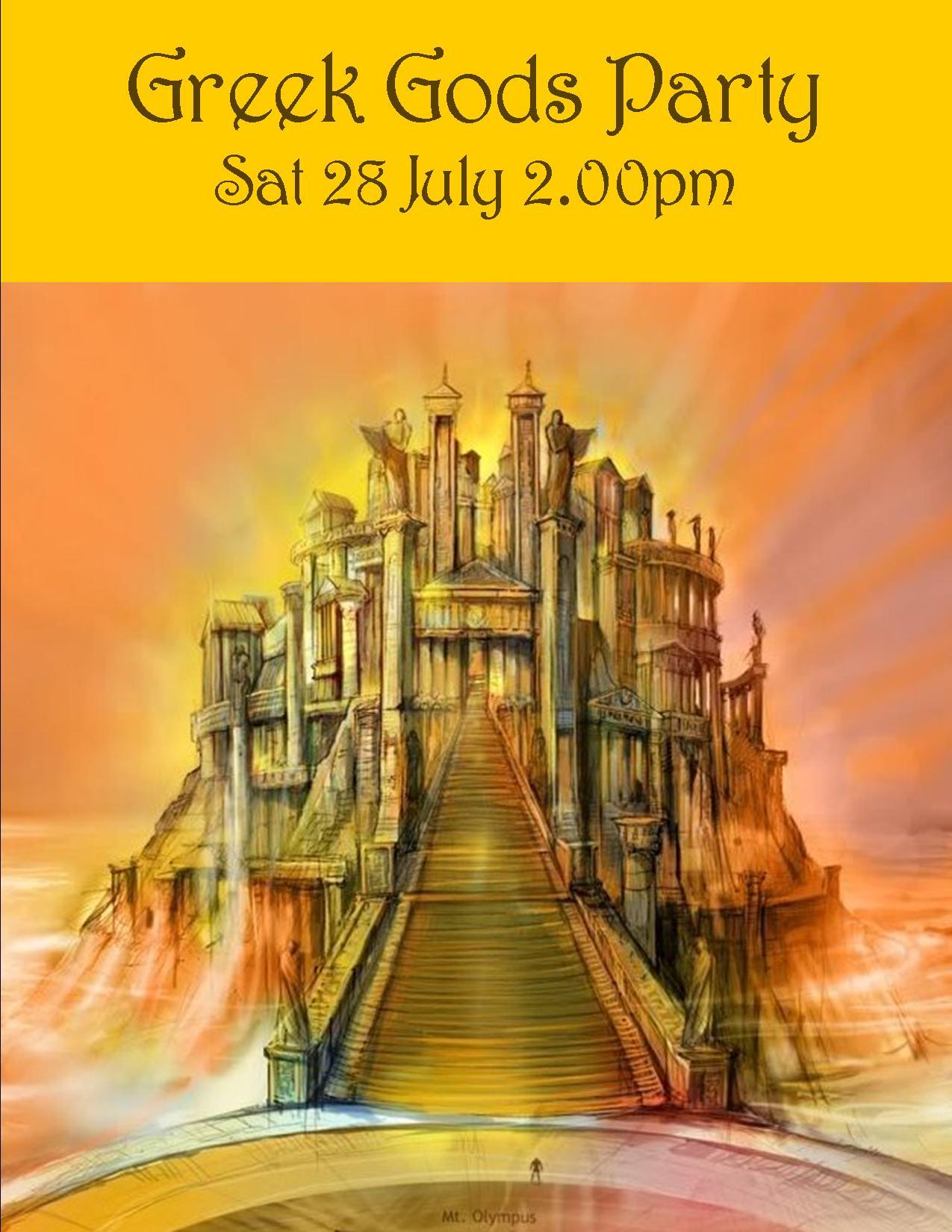 GREEK GODS PARTY SAT 28 JULY 2018